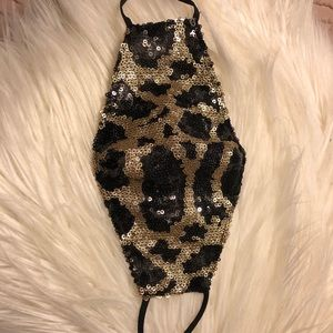 Sequin, leopard print  mask